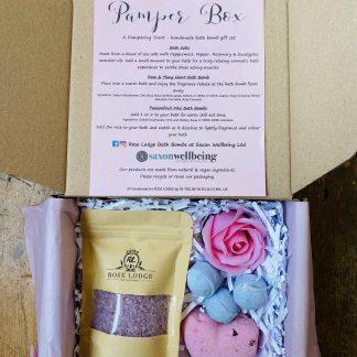 Rose Bath Bomb Pamper Hamper, Gift Set Box
